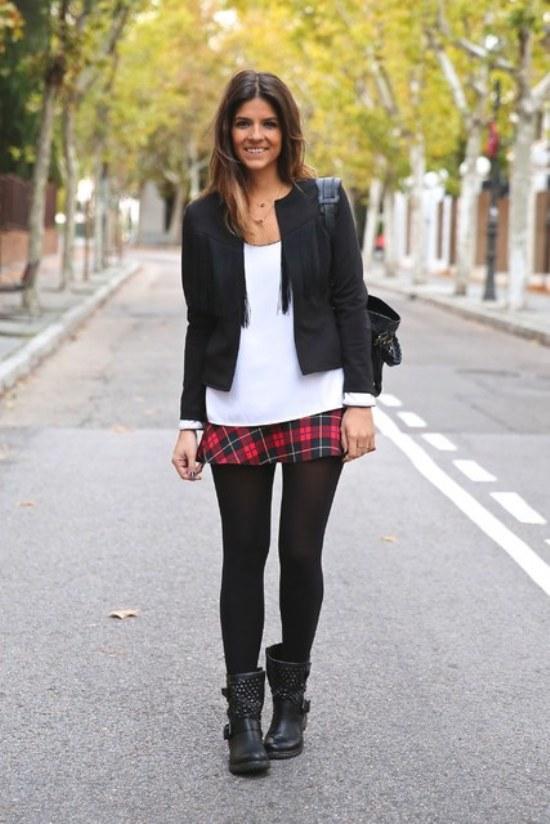 outfits prendas tartan moda invierno