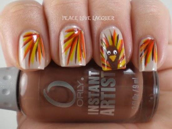 diseños uñas accion de gracias pavo