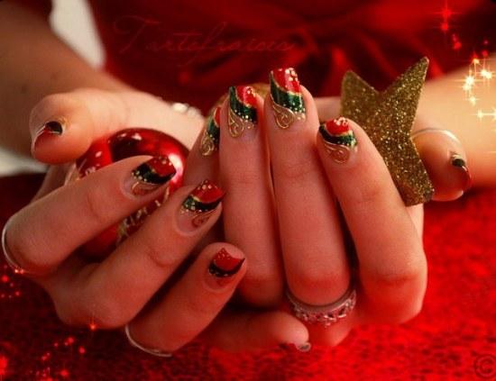 diseño de uñas de navidad