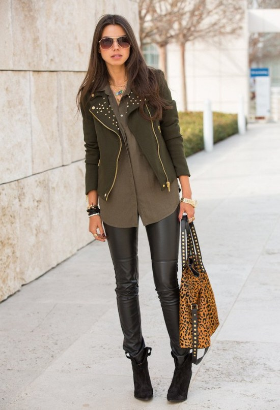 Olive Green Leather Jacket
