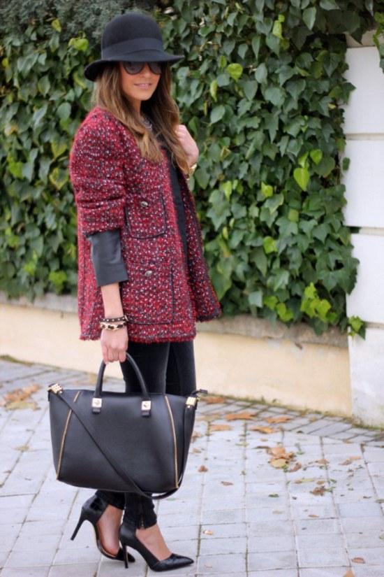 abrigos tela tweed lana