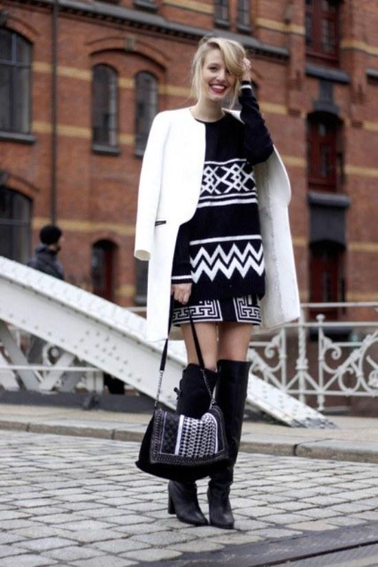 blanco negro moda invierno
