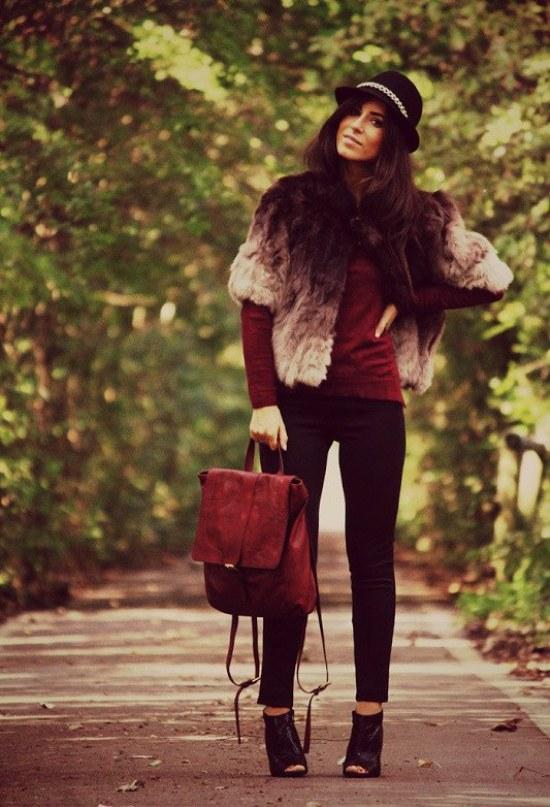 ropa color borgoña moda invierno