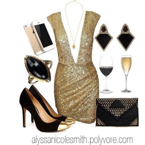 vestidos brillantes lentejuelas polyvore navidad