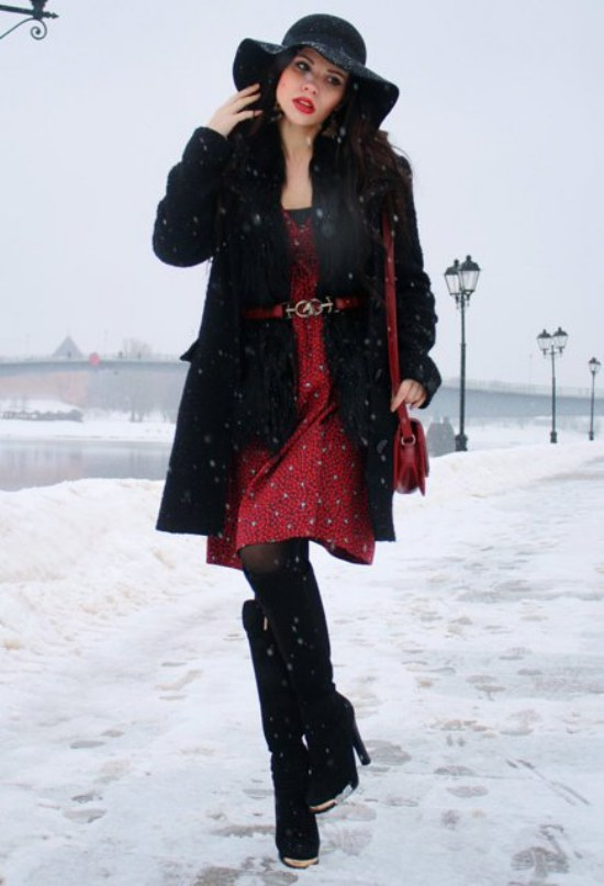 vestidos invierno rojos 2014 moda