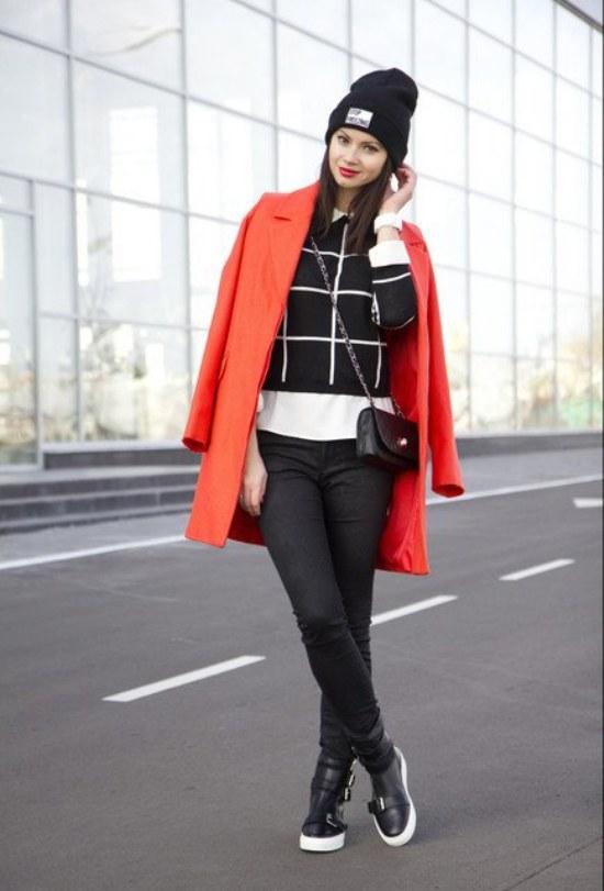 abrigos color rojo moda invierno