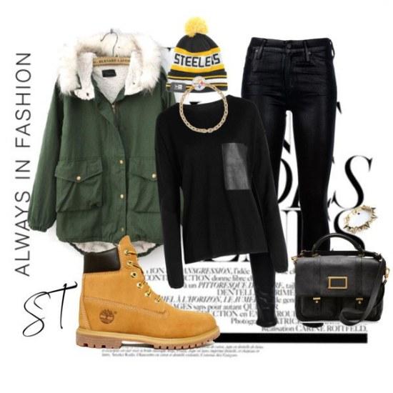 combinaciones de outfits con botas timberland para invierno 2014 15 por polyvore. Black Bedroom Furniture Sets. Home Design Ideas