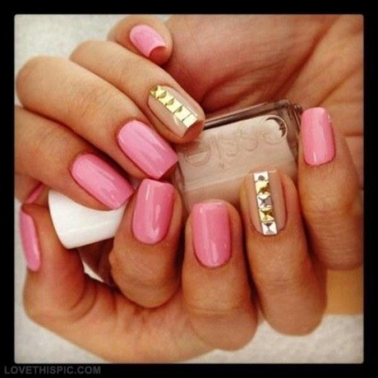 uñas rosa dorado diseños