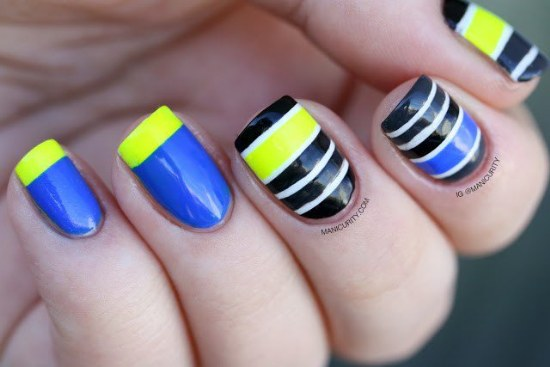 diseños rayas uñas