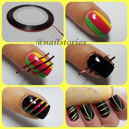 diseños uñas cintas