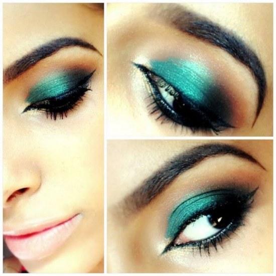 Maquillaje para vestido azul y verde