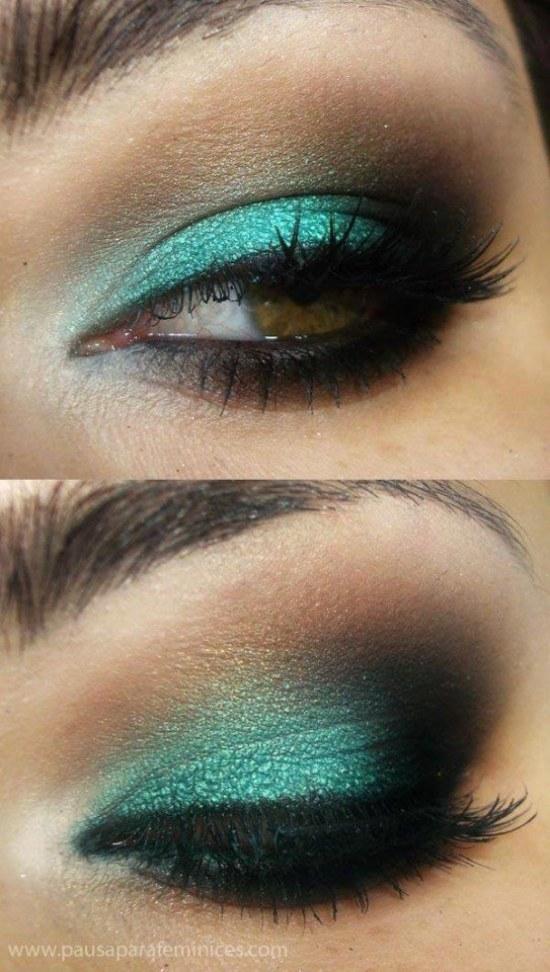 Maquillaje ojos con vestido verde