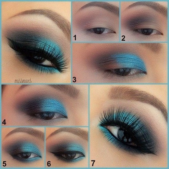 maquillaje azul para ojos verdes