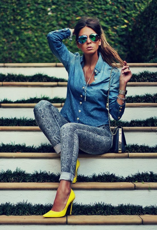 camisas denim jean outfits