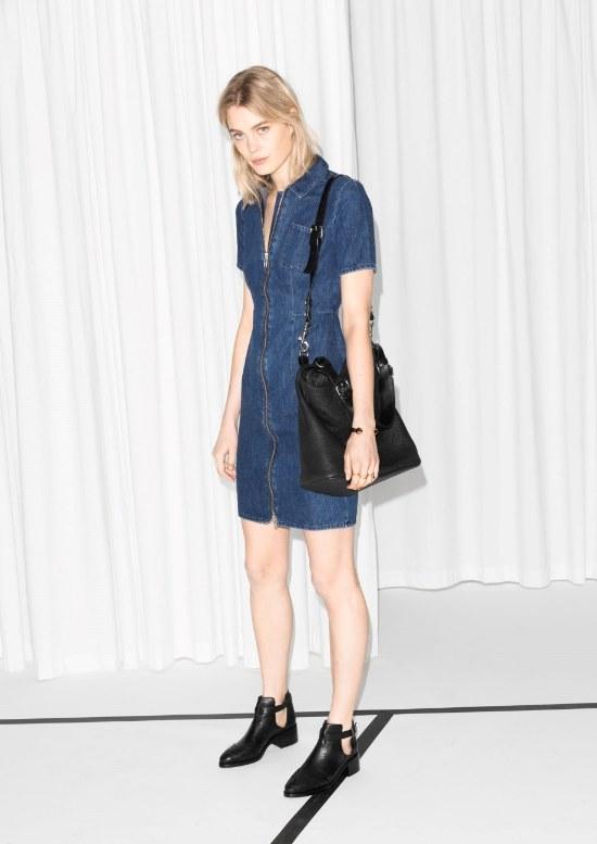 vestido denim jean moda primavera