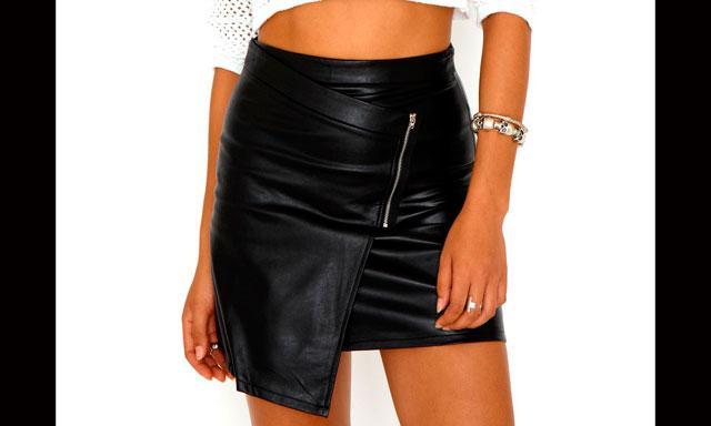 minifaldas cuero