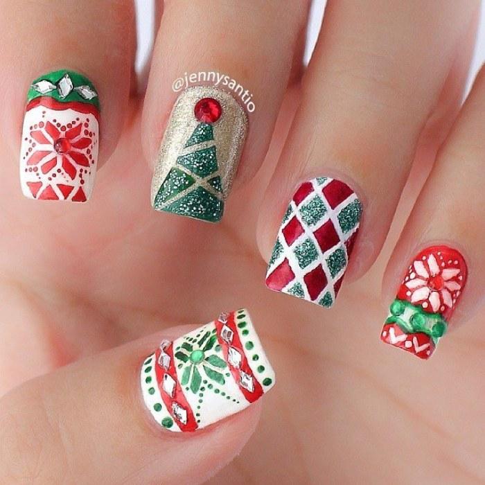 uñas diseños navideñas