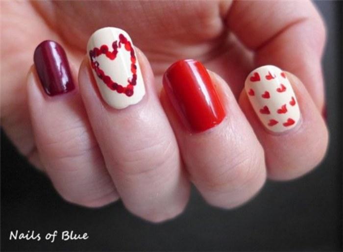 uñas corazones valentin