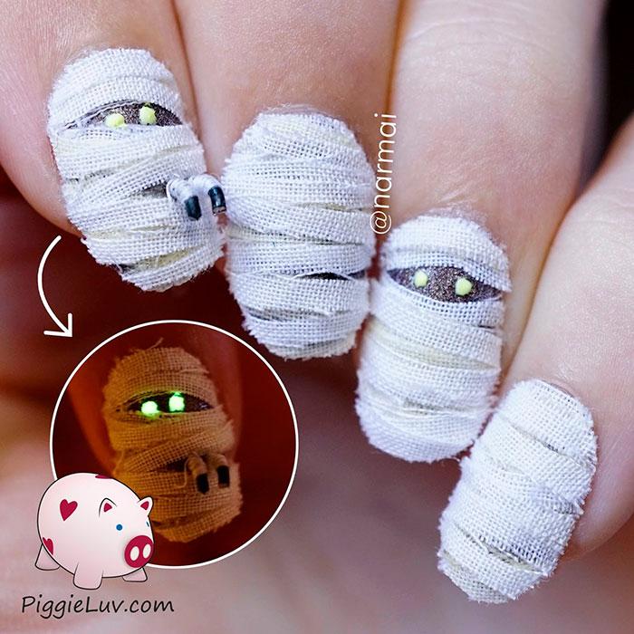 Espeluznantes Ideas de decoración de uñas para Halloween