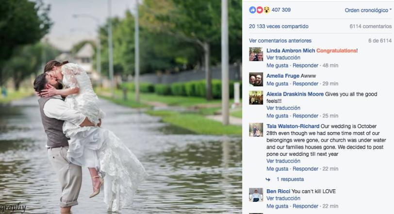 La boda que ni el huracán Harvey detuvo