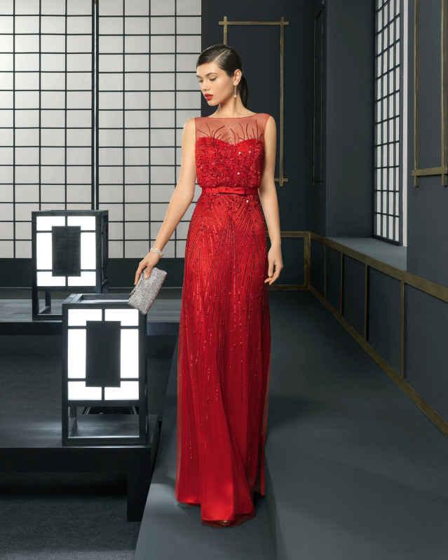 vestidos de moda color rojo elegante